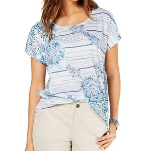 Style&Co Tee Tide Blue Paisley Floral Print Stripe